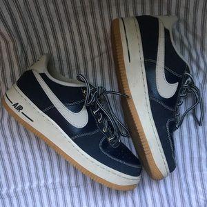 Navy Blue Nike Air Force 1 Gum Sole